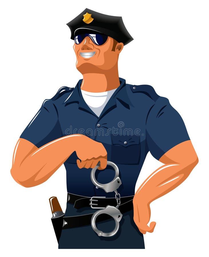 Uśmiechnięty policjant ilustracja wektor