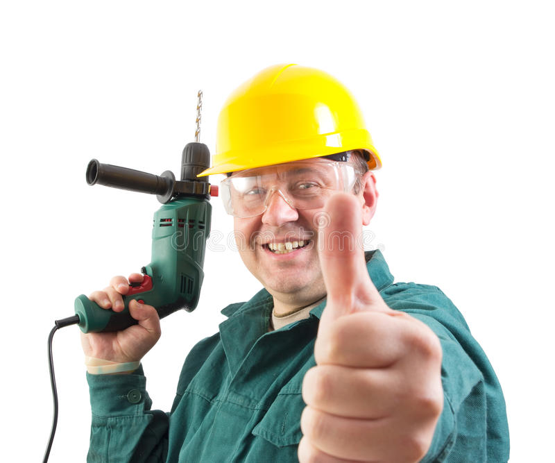 Uśmiechnięty repairman gestykuluje aprobaty obraz royalty free