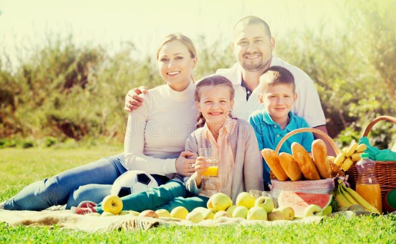 Uśmiechnięty rodzina składająca się z czterech osób ma pinkin outdoors obraz stock