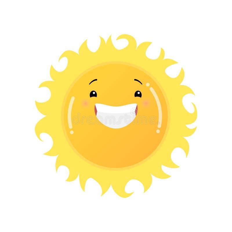 Uśmiechnięty roześmiany żółty słońca emoji majcher odizolowywający na białym tle ilustracji
