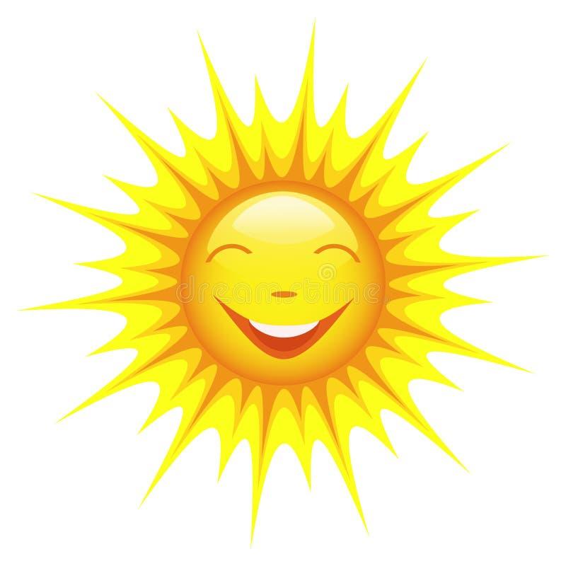 Uśmiechnięty słońce odizolowywający na białym tle ilustracji