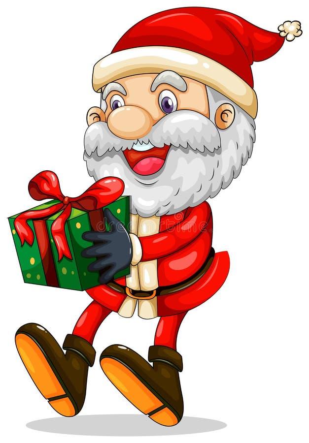 Uśmiechnięty Santa trzyma teraźniejszość dla bożych narodzeń ilustracja wektor