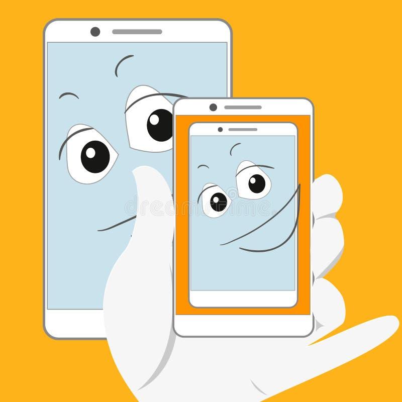 Uśmiechnięty smartphone bierze zdjęcie ilustracji