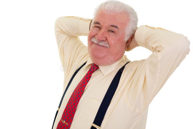 Uśmiechnięty starszy biznesmen obraz stock