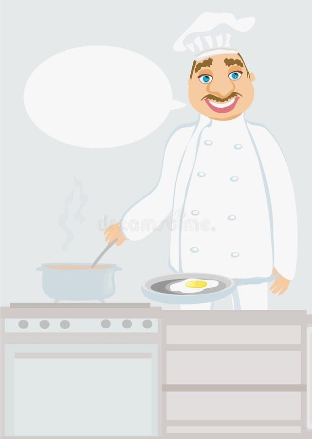 Uśmiechnięty szef kuchni gotuje polewkę ilustracji