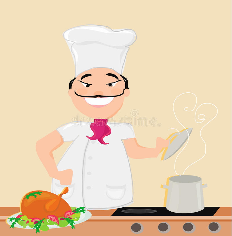 Uśmiechnięty szef kuchni gotuje polewkę ilustracja wektor