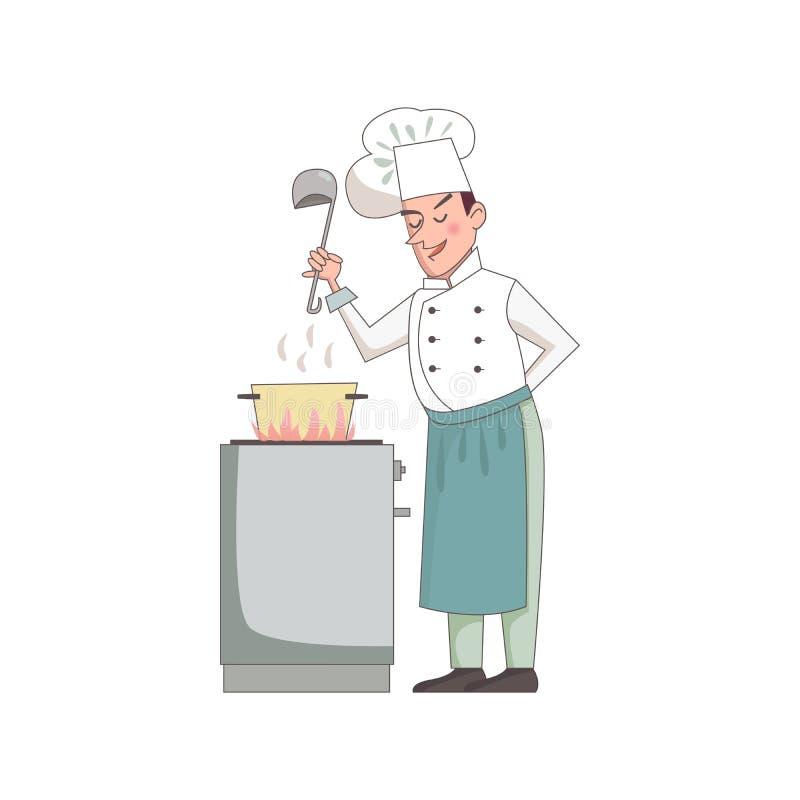 Uśmiechnięty szef kuchni gotuje polewkę Postaci z kreskówki mienia srebra kopyść również zwrócić corel ilustracji wektora ilustracji