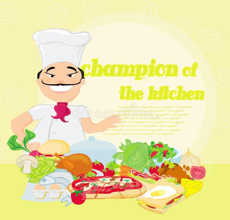 Uśmiechnięty szef kuchni i różnorodni naczynia ilustracja wektor
