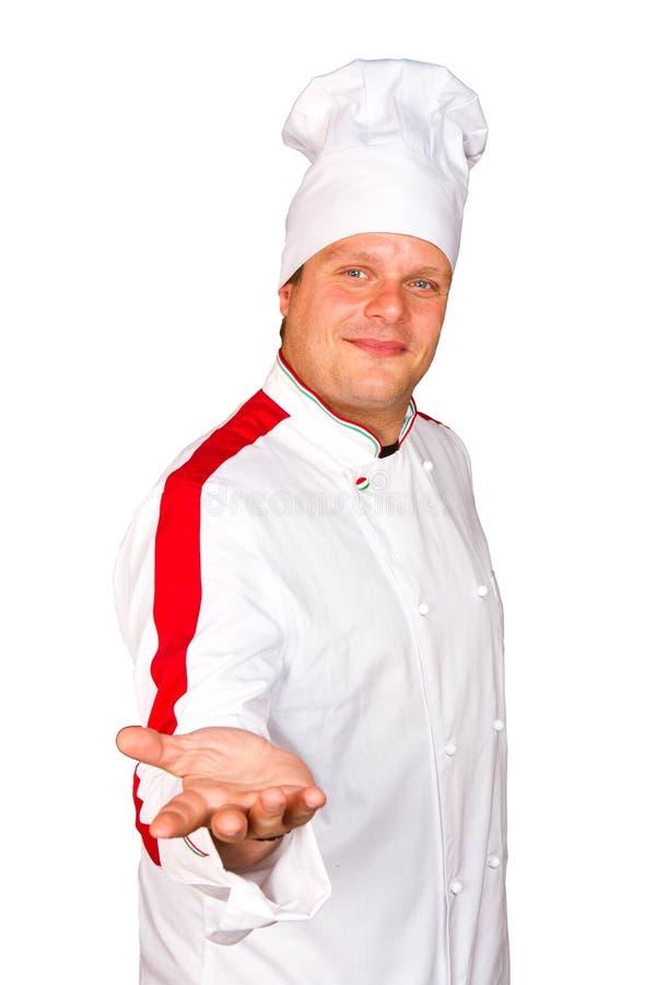 Uśmiechnięty szef kuchni. Odizolowywający nad białym tłem. Smakosz. zdjęcia royalty free