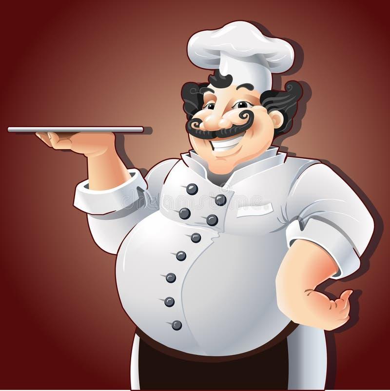 Uśmiechnięty szef kuchni z talerzem ilustracja wektor