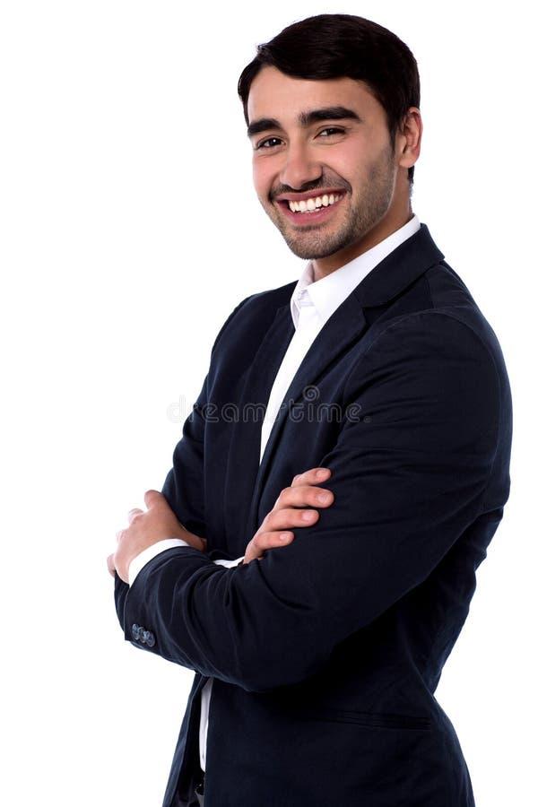 Uśmiechnięty ufny dyrektor wykonawczy obraz royalty free