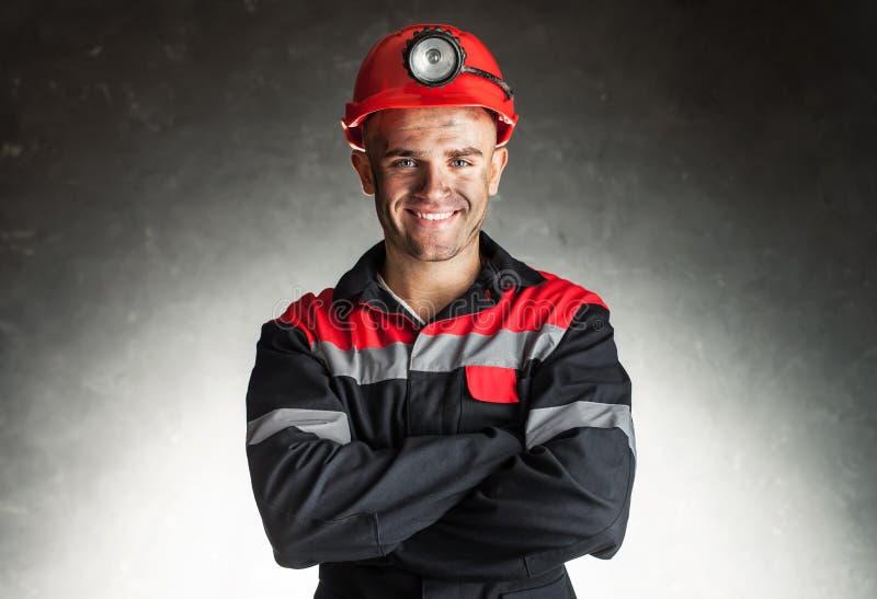 Uśmiechnięty węglowy górnik obrazy royalty free