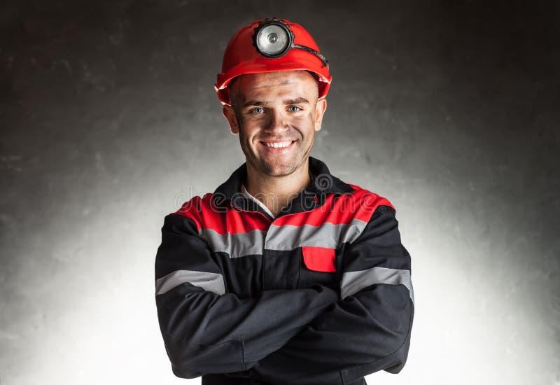 Uśmiechnięty węglowy górnik obrazy stock