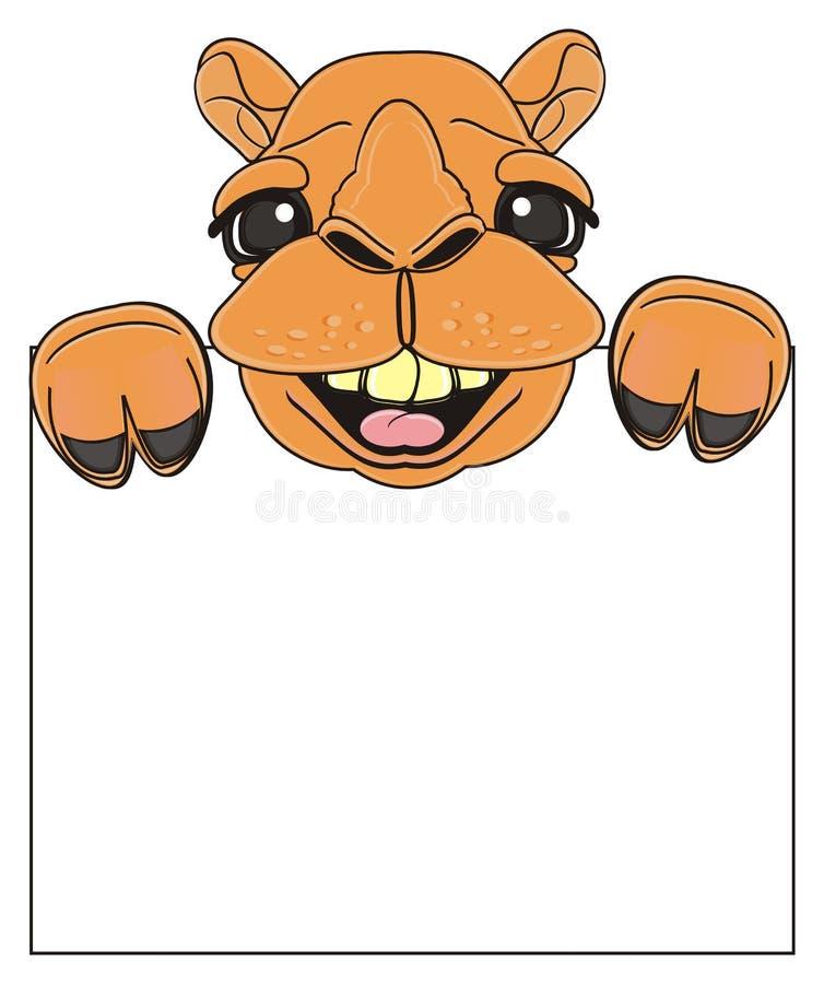 Uśmiechnięty wielbłądzi zerknięcie up od puste miejsce talerza ilustracja wektor