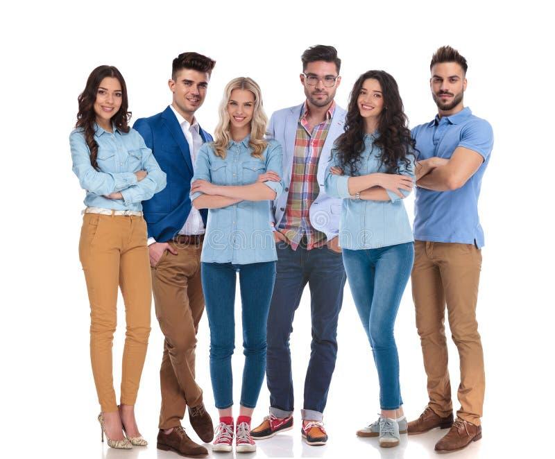 Uśmiechnięty workteam 6 kobiet i młodzi człowiecy obrazy stock