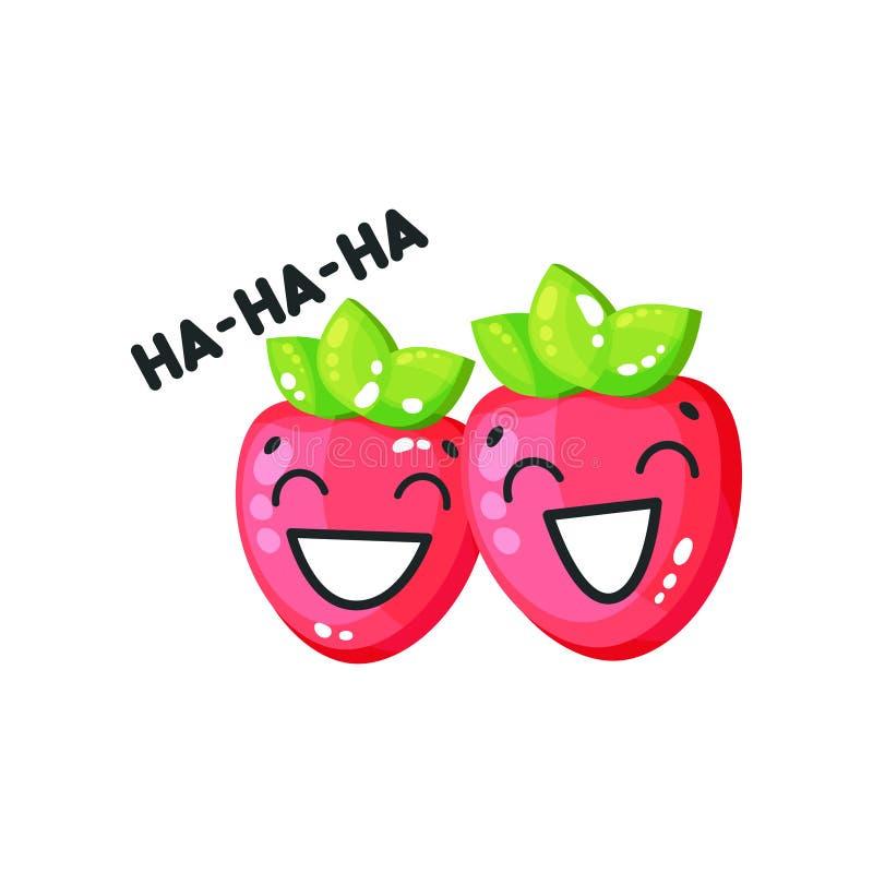 Uśmiechniętych jaskrawych glansowanych truskawek śliczni charaktery mówi Hahaha kreskówki wektorową ilustrację na białym tle royalty ilustracja