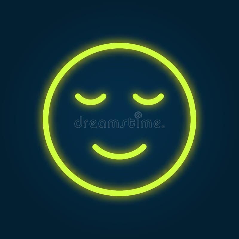 Uśmiechu Emoji symbolu Neonowego światła projekta Rozjarzona Wektorowa ilustracja Szczęśliwy oświetlenie łuny twarzy zabawy emoci royalty ilustracja