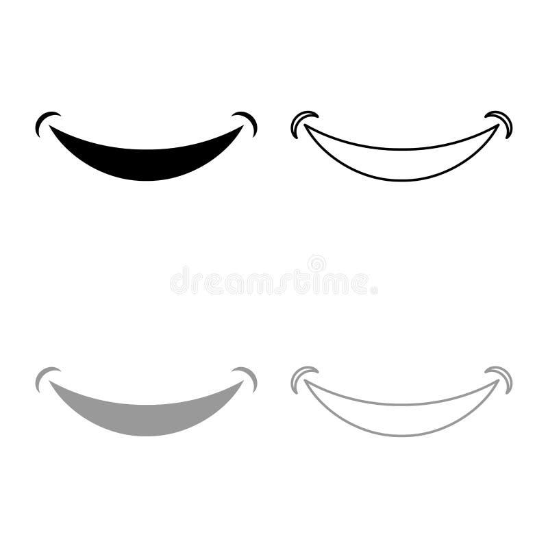 Uśmiechu Smlie doodle ikony konturu czerni ustalonego popielatego koloru mieszkania stylu wektorowy ilustracyjny wizerunek ilustracji