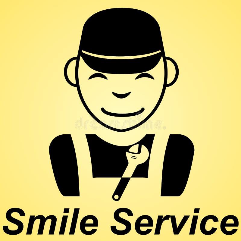 Uśmiechu usługowego mieszkania znaka koloru żółtego tło ilustracja wektor