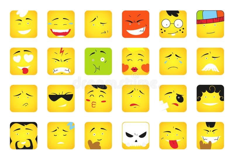 uśmiechy Set emoticons lub emoji ilustraci linii ikony Uśmiecha się ikony kreskowej sztuki odizolowywającą wektorową ilustrację n ilustracja wektor