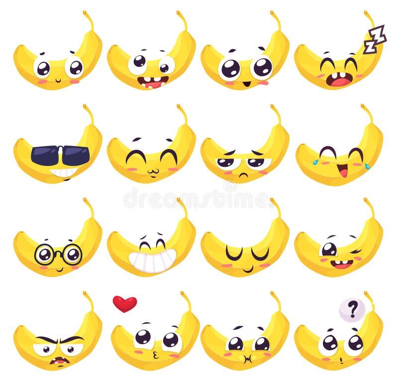 Uśmiechy ustawiający owocowi charaktery Wektorowe śliczne kreskówki royalty ilustracja