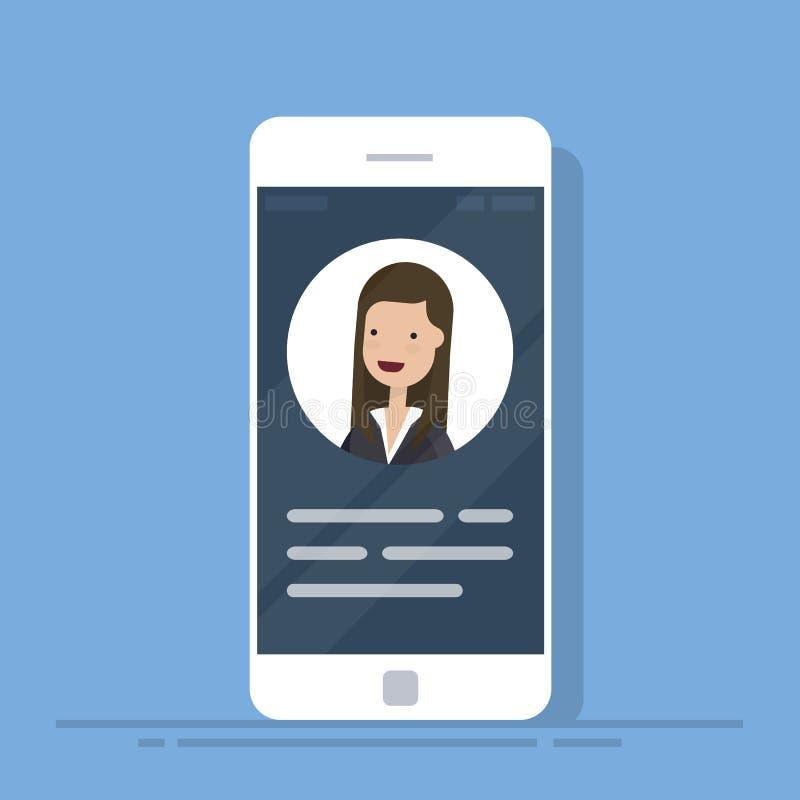Użytkowników kontakty lub profil karty szczegóły na smartphone Informacja osobista dane na telefonie komórkowym Tożsamości osoby  royalty ilustracja