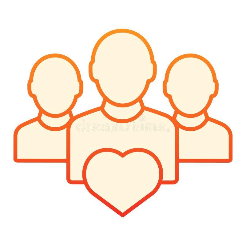 Użytkownik grupa z kierową płaską ikoną Prac zespołowych pomarańczowe ikony w modnym mieszkanie stylu Drużynowy gradientu stylu p ilustracja wektor