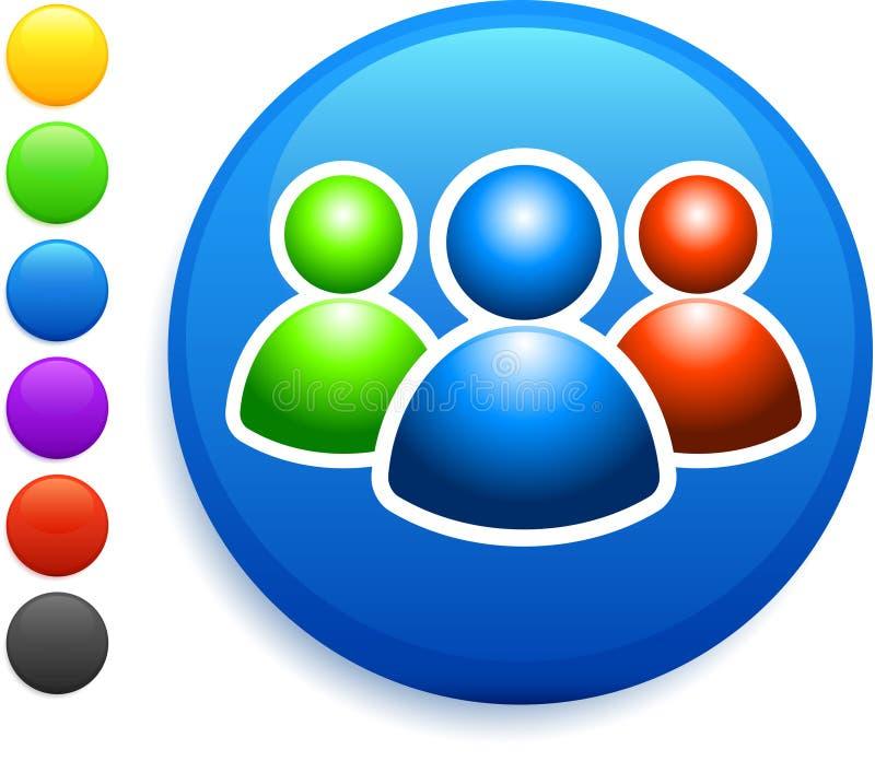 Użytkownik grupowa ikona na round interneta guziku ilustracji