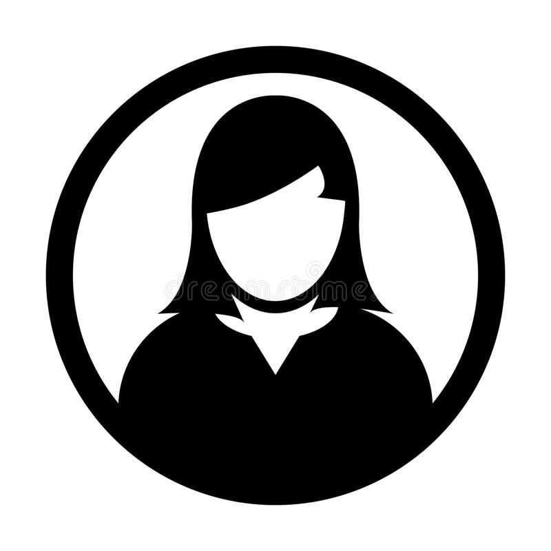 Użytkownik ikony Żeńskiej osoby symbolu profilu okręgu Avatar Wektorowy znak ilustracja wektor