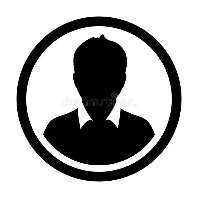 Użytkownik ikony Męskiej osoby symbolu profilu okręgu Avatar Wektorowy znak ilustracji