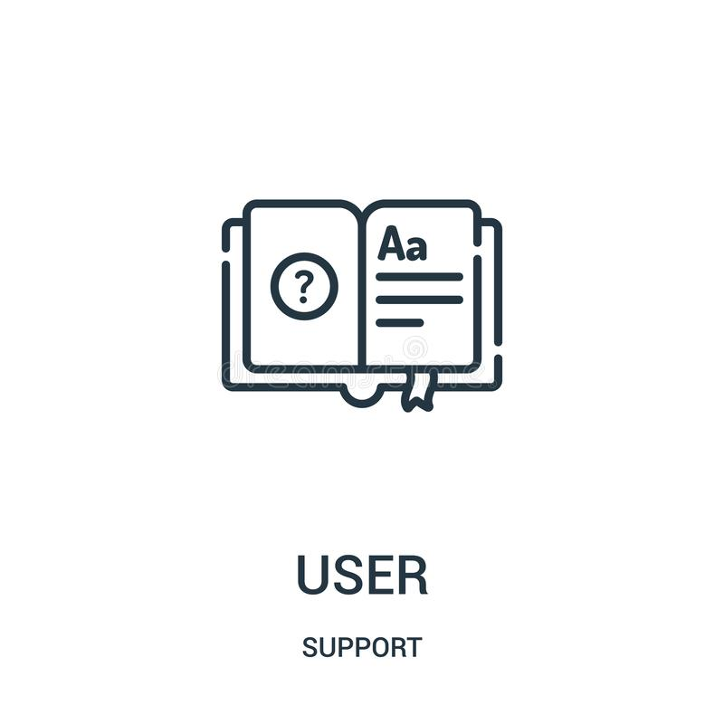 użytkownik ikony wektor od poparcie kolekcji Cienka kreskowa użytkownika konturu ikony wektoru ilustracja Liniowy symbol dla używ royalty ilustracja