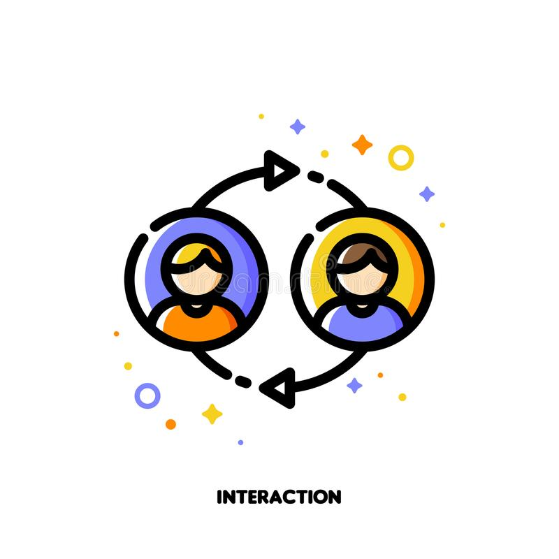 Użytkownik interakcja, ludzie komunikacj lub klient dyskusja, ilustracja wektor