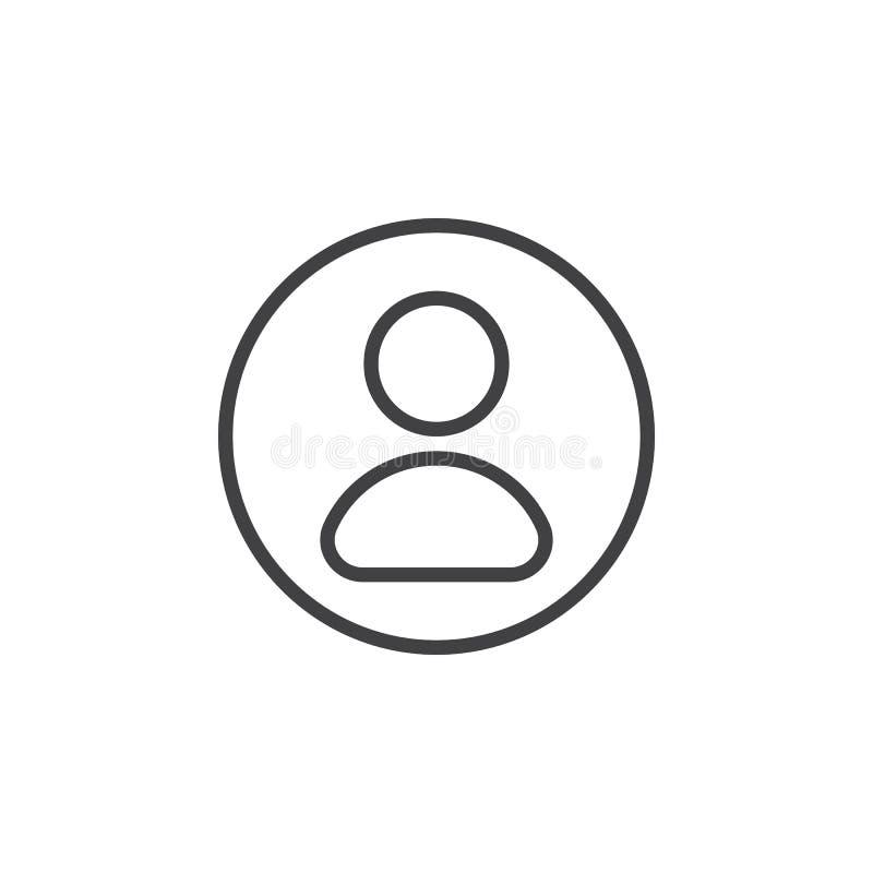 Użytkownik, obrachunkowa kurendy linii ikona Round prosty znak royalty ilustracja