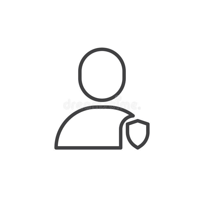 Użytkownik ochrony osłony linii ikona ilustracji