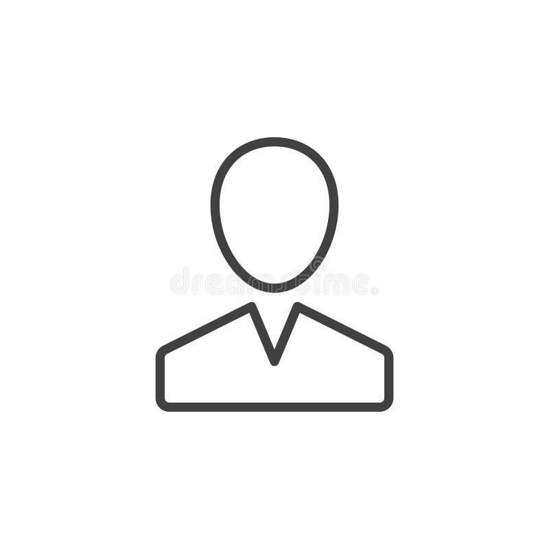 Użytkownik, osoby kreskowa ikona, konturu wektoru znak, liniowy stylowy piktogram odizolowywający na bielu royalty ilustracja