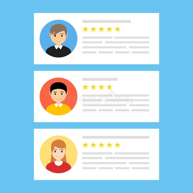 Użytkownik przegląda online Klient informacje zwrotne przeglądu doświadczenia ratingowy pojęcie Użytkownika klienta usługowa wiad royalty ilustracja