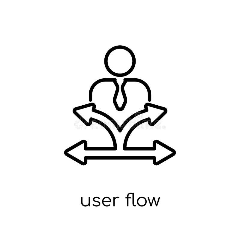 Użytkownik spływowa ikona Modna nowożytna płaska liniowa wektorowa użytkownika przepływu ikona royalty ilustracja