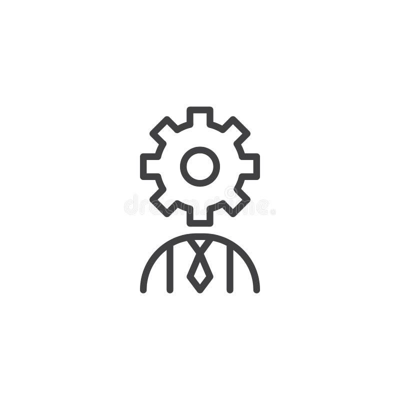 Użytkownik z przekładni głowy konturu ikoną royalty ilustracja