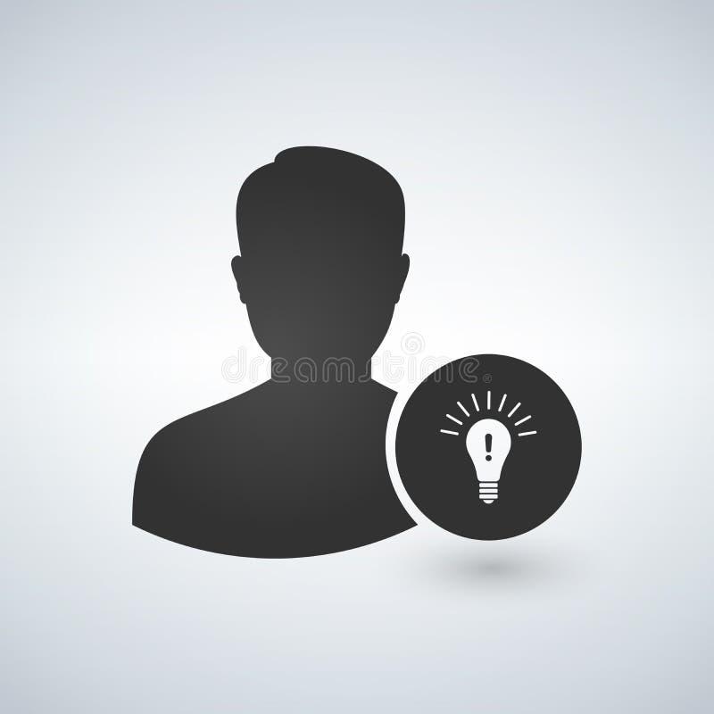 Użytkownika avatar ikona Profil z Lampowej żarówki znakiem Osoby sylwetka z pomysłu symbolem wektor royalty ilustracja