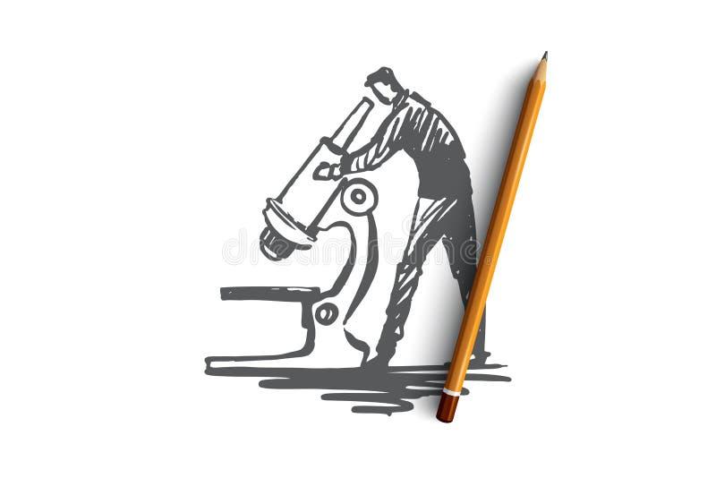 Użytkownika badanie, powiększa, eksploracja, narzędzie, sprawdza pojęcie Ręka rysujący odosobniony wektor ilustracja wektor
