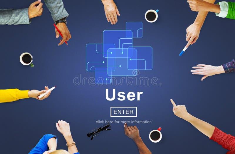 Użytkownika członka systemu użyteczności tożsamości hasła pojęcie zdjęcia royalty free