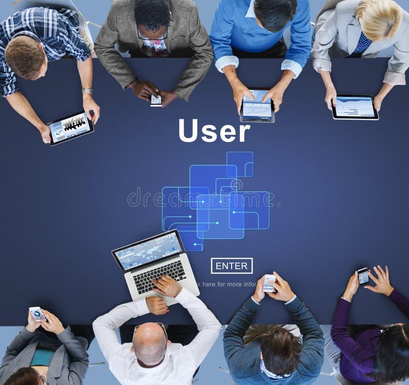 Użytkownika członka systemu użyteczności tożsamości hasła pojęcie obrazy royalty free