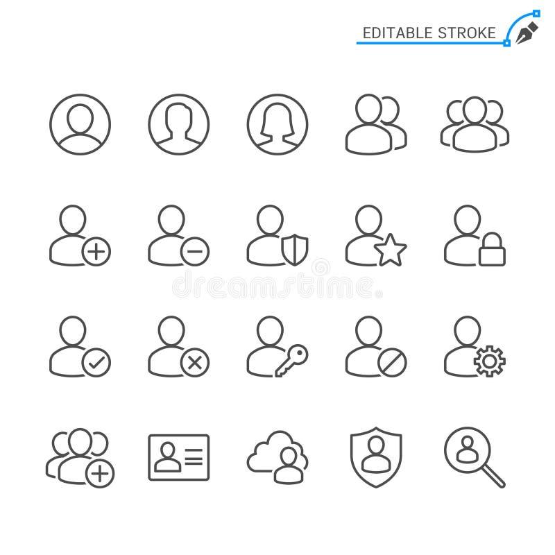 Użytkownika konturu ikony set royalty ilustracja
