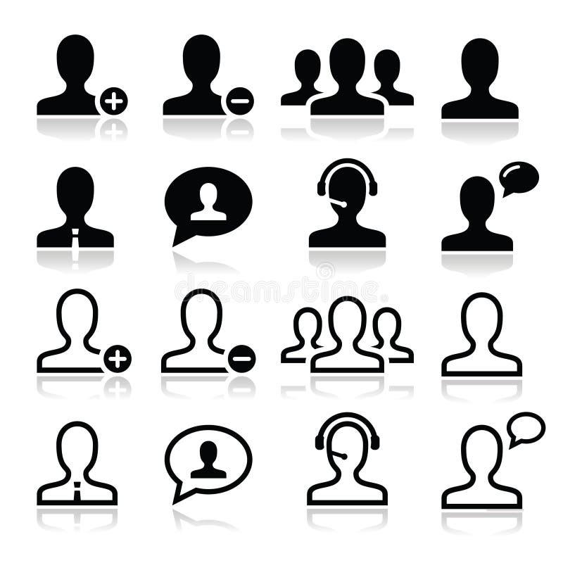 Użytkownika mężczyzna avatar ikony ustawiać royalty ilustracja
