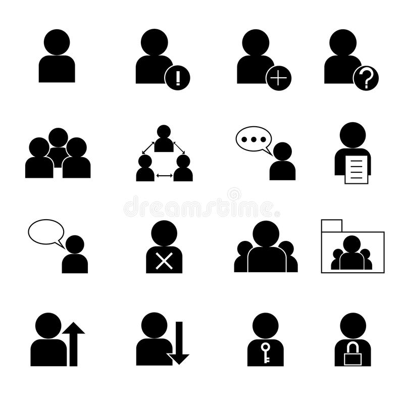 Użytkownika zarządzania ikony ustalona wektorowa ilustracja