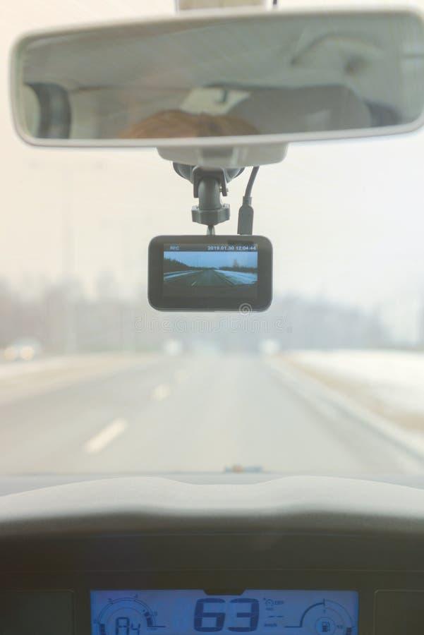 Używać deski rozdzielczej kamerę w samochodzie zdjęcia stock