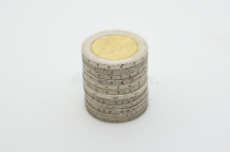 Używać euro waluta na białym backgroud obrazy royalty free