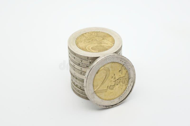 Używać euro waluta na białym backgroud fotografia royalty free