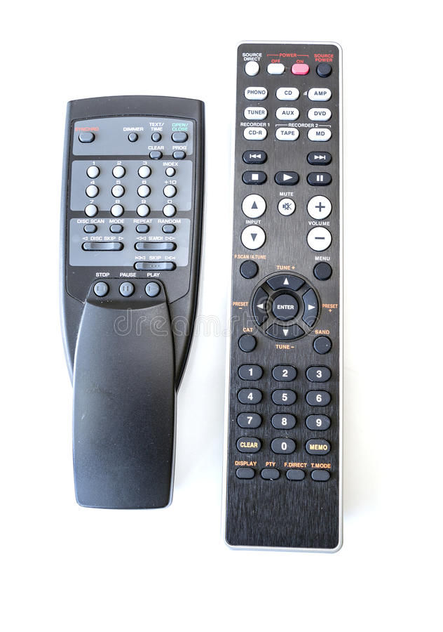 Używać odtwarzacza cd i amplifikatoru pilot do tv fotografia stock