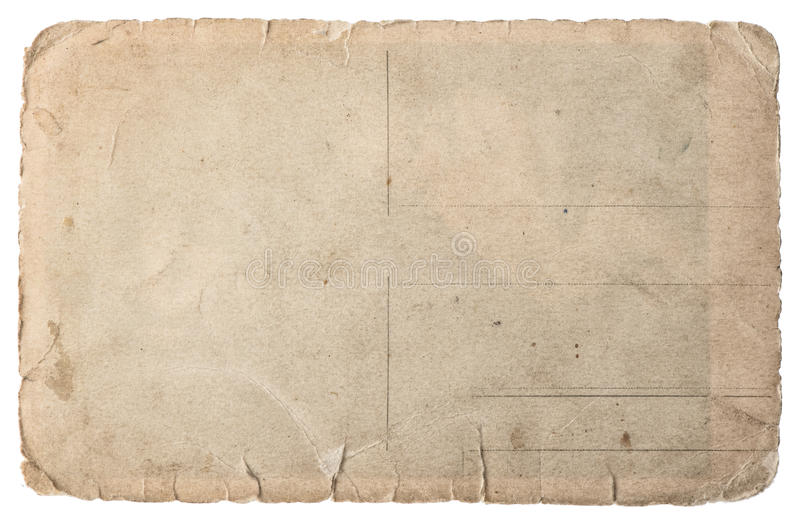 Używać papier odizolowywający na bielu Rocznik drzejący karton zdjęcia stock